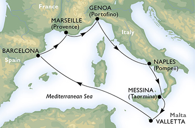 immagine dell´itinerario della crociera in italia, malta, spagna, francia a bordo di  MSC SEAVIEW con partenza da Napoli il 23/07/18