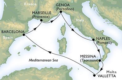 immagine dell´itinerario della crociera in italia, malta, spagna, francia a bordo di  MSC SEAVIEW con partenza da Messina il 24/07/18
