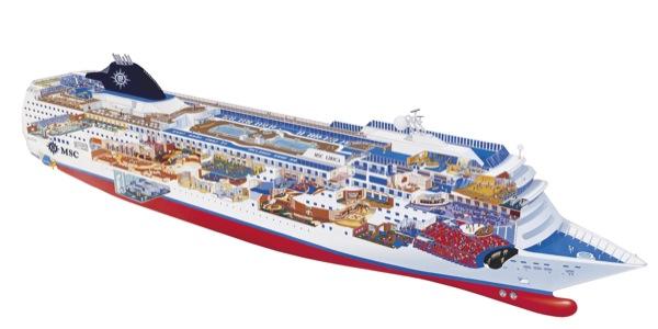 immagine dello spaccato della nave msc lirica della flotta MSC Crociere